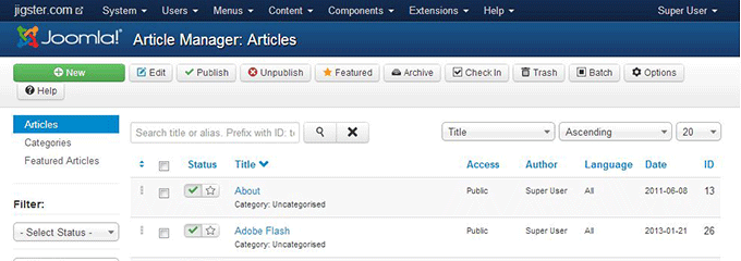 Joomla Article Manager Sample page