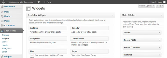 WordPress Add Widgets Sample page